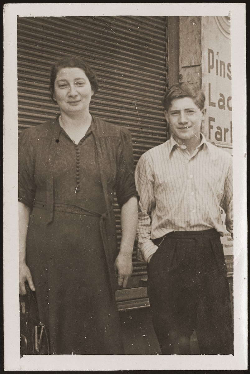 Paula Jacobsberg Wassermann with her son, Kurt, in Berlin.  The two perished during the war.  Paula was the donor's aunt.