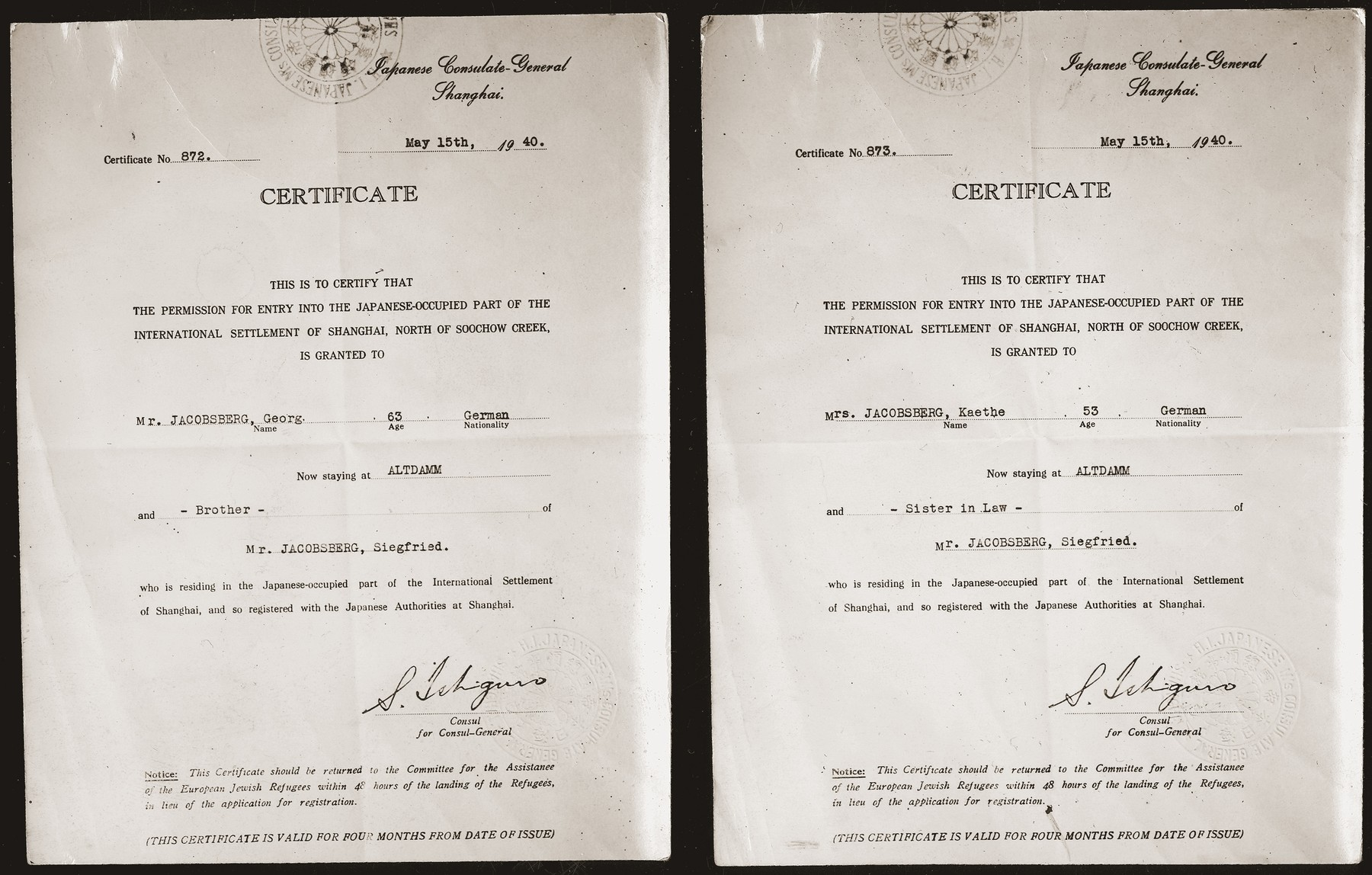 Certified copies of Japanese entry permits to Shanghai obtained by Siegfried Jacobsberg for his brother and sister-in-law in Altdamm (a suburb of Stettin).  By the time the couple received the originals, however, they were no longer allowed to leave Germany.  Both were deported to Lublin and perished.