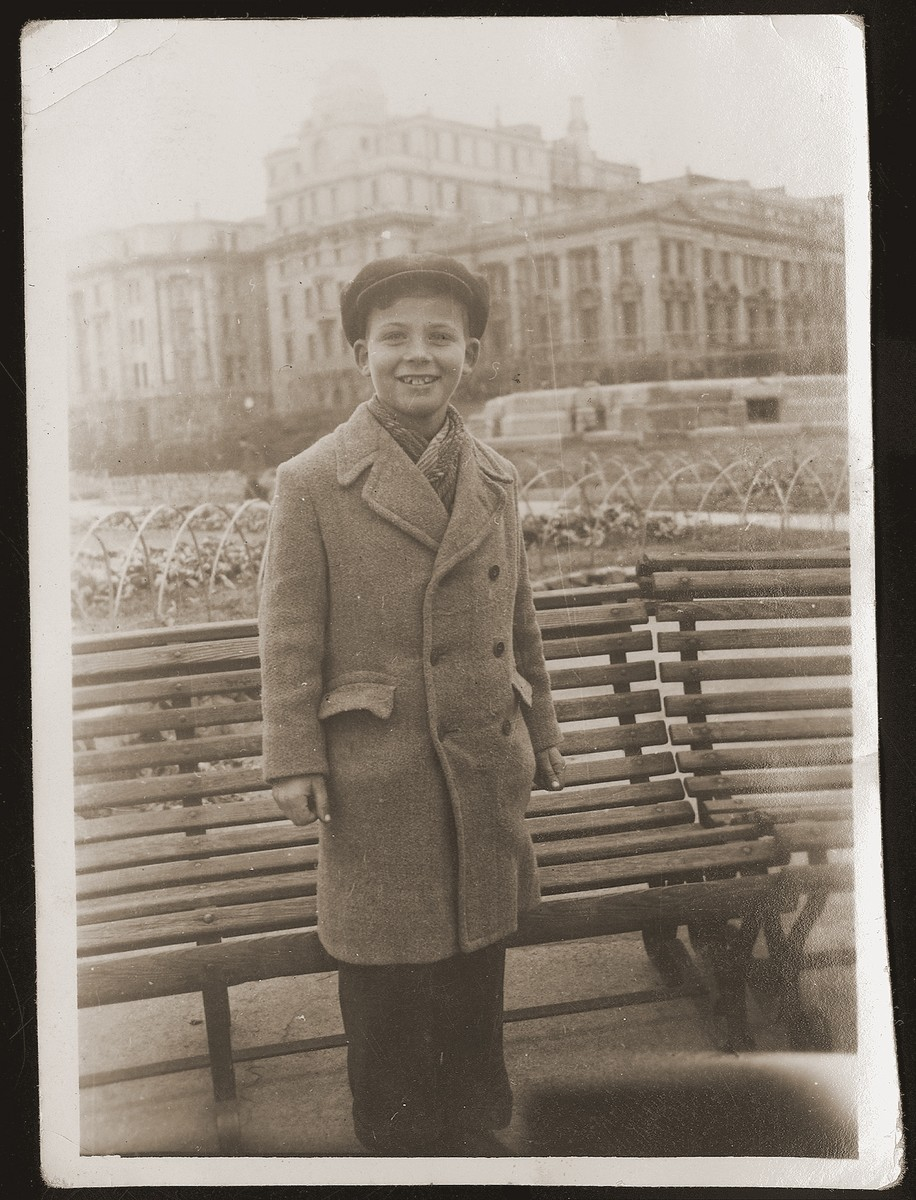 "Klaus Herrnstadt, a young German Jewish refugee, in a park in Shanghai.  This photograph was given to Walter Jacobsberg on the occasion of his 30th birthday.  The inscription on the back reads ""To my 'uncle' Walter, a momento from Klaus Herrnstadt.""  Klaus later immigrated to the United States and settled in San Francisco."
