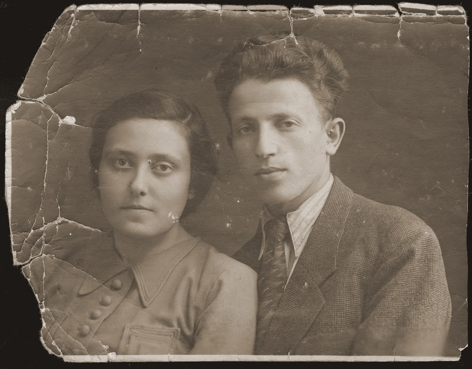 Portrait of Leon and Guta Akierman.  Guta is the only survivor of her family.  The Akiermans were friends of the donor.