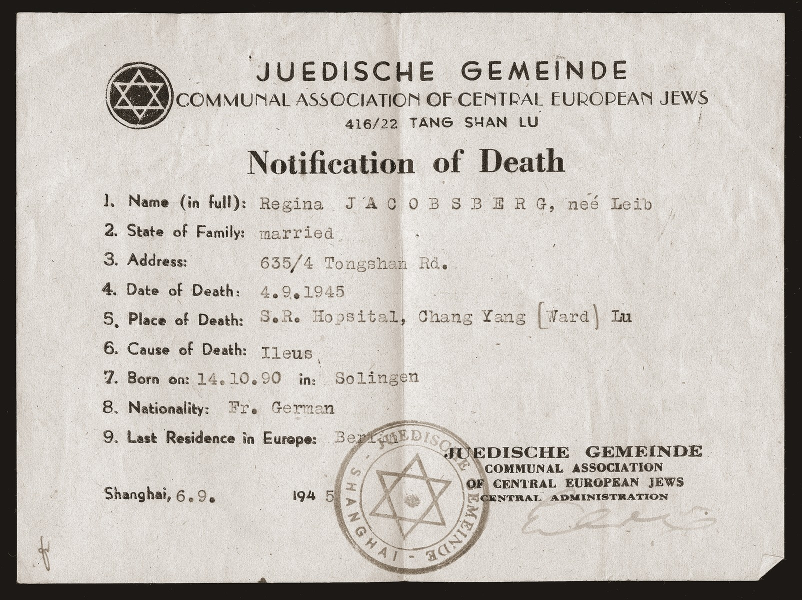 Regina Leib Jacobsberg's death notice, issued by the Jewish community [Juedische Gemeinde] of Shanghai.