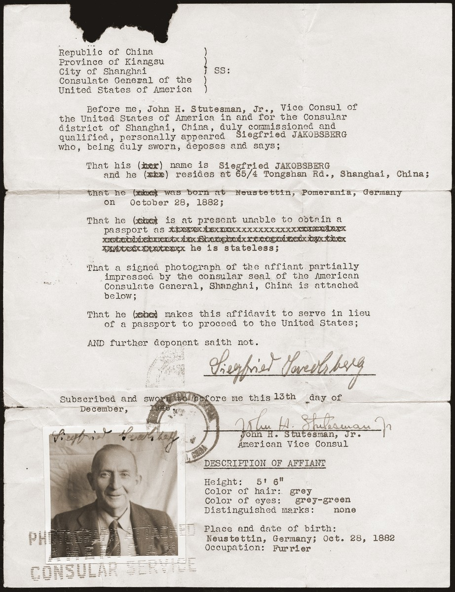 A travel document issued to Siegfried Jacobsberg by the United States Vice Consul in Shanghai.  Siegfried used this document to immigrate to the United States in January 1947.