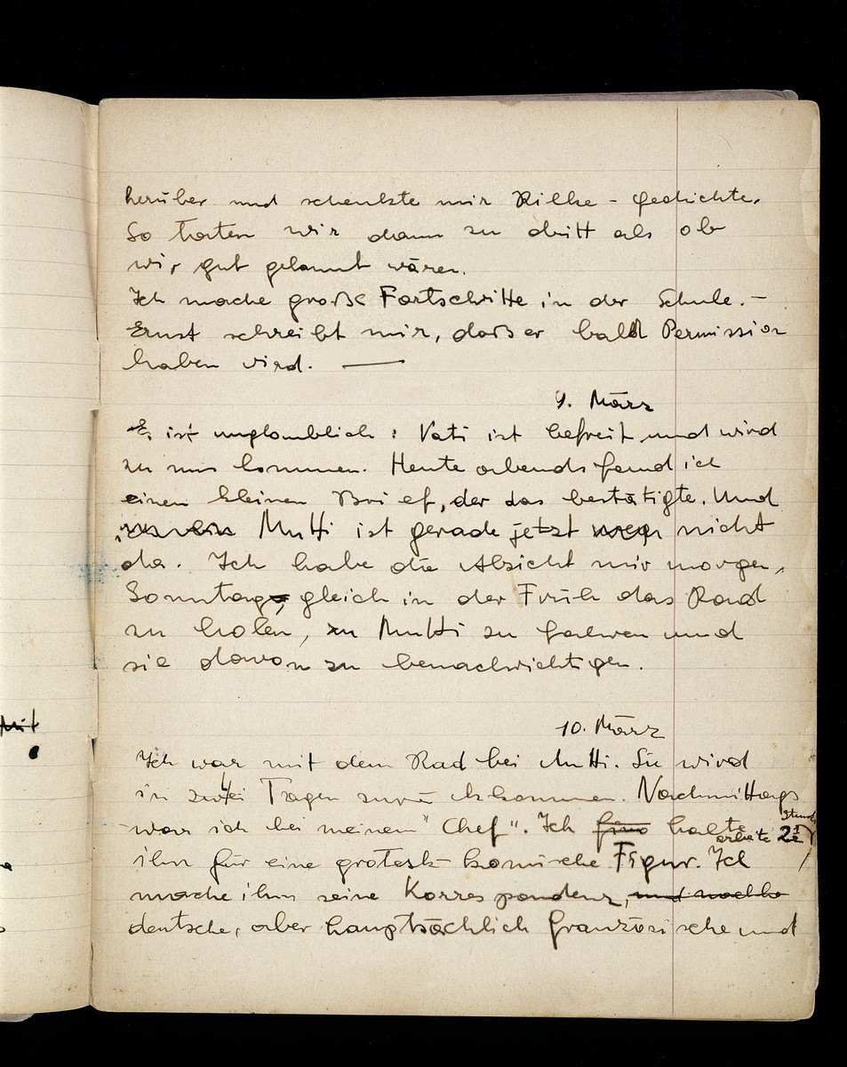 One page of a diary written by Elizabeth Kaufmann while living with the family of Pastor André Trocmé in Le Chambon-sur-Lignon.