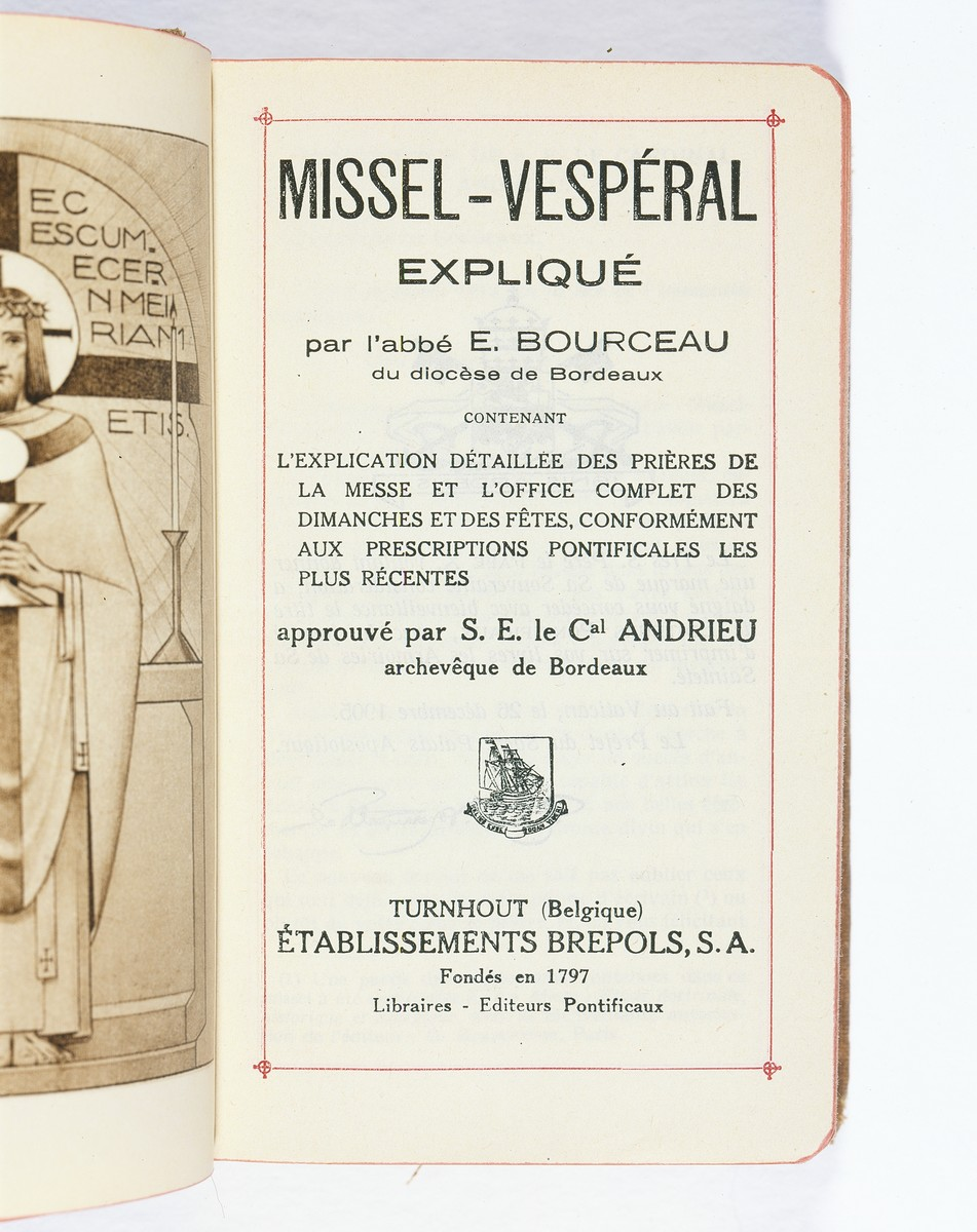The title page of a missal in French and Latin received by Sara Lamhaut while hiding at the Soeurs de Sainte Marie convent school near Brussels.    The missal was given to Sara Lamhaut (Jeannine van Merhaegen) on the occasion of her first communion, Wezembeek-Oppem, Belgium.
