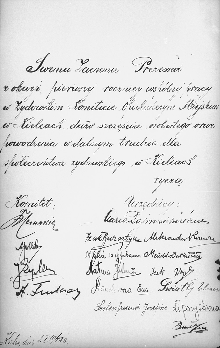 A dedication, written and signed by the members of the Kielce ghetto Judenrat (Jewish Council), to their chairman, Hermann Levy.    This dedication was included in an official photo album prepared by the Judenrat of the Kielce ghetto in 1942.