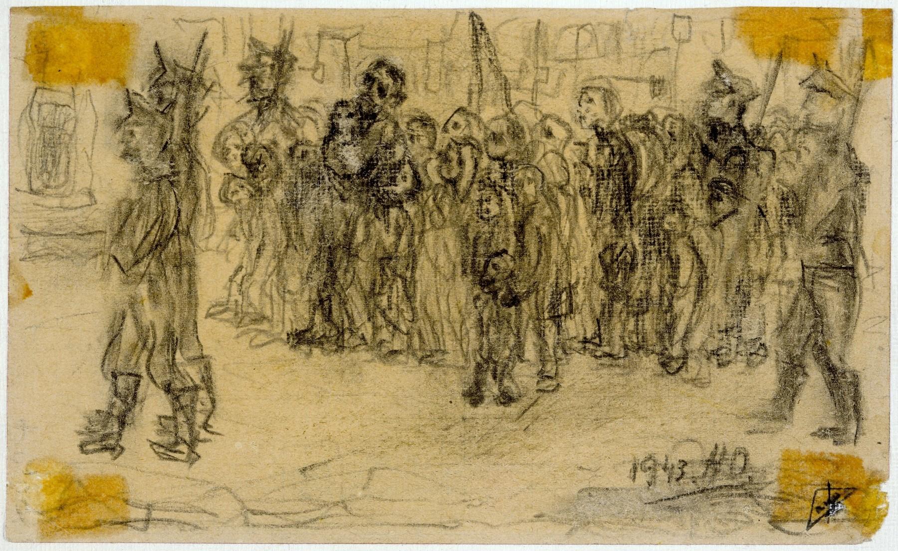 'Le dernier chemin Korczak et les enfants pendant l'expulsion,' Warsaw ghetto, 1943,  by Halina Olomucki.