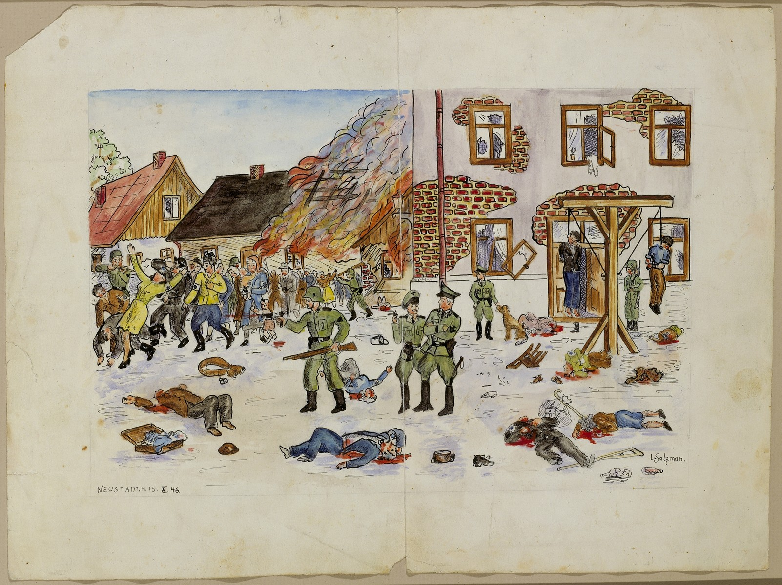 Drawing of an evacuation of a ghetto by George L. Salton.