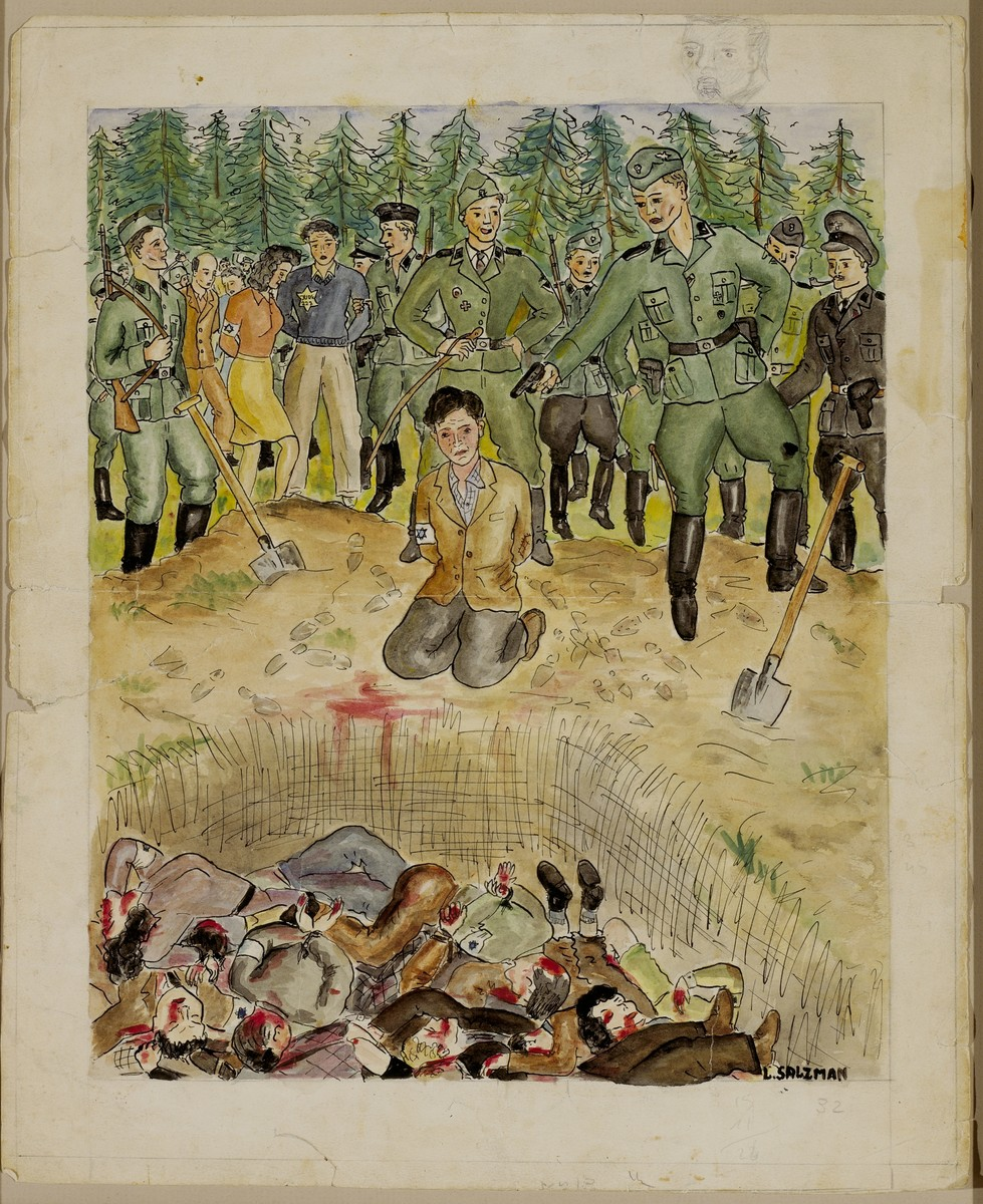 Drawing of an execution at a mass open grave by George L. Salton.