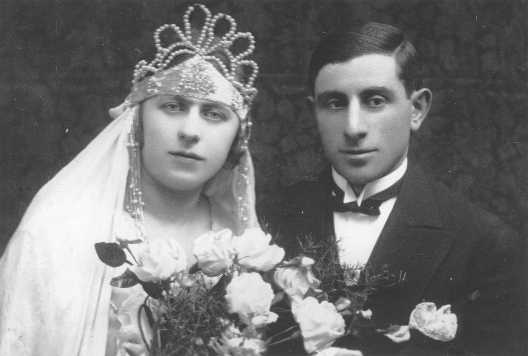 Wedding portrait of a Jewish couple in Lodz.  Pictured are Frida Szczukowski and Zanville Goldstein.