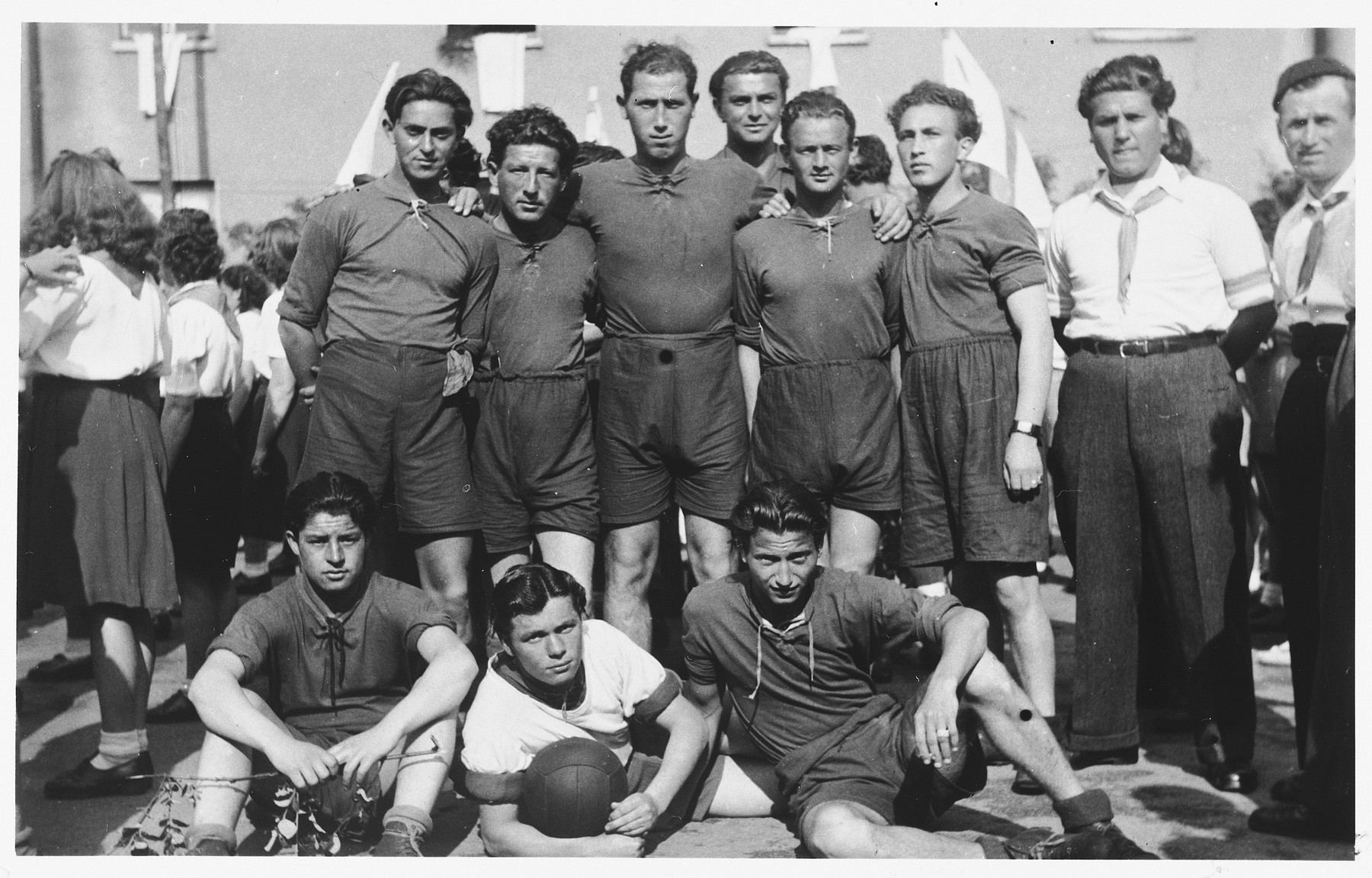 Group portrait of members of a soccer team in the Bergen-Belsen displaced persons camp.