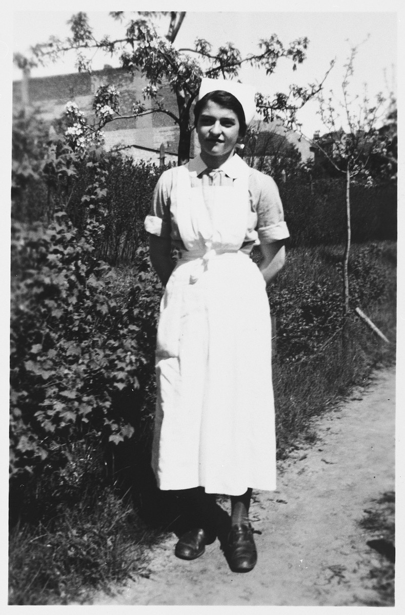 Portrait of Alice Redlich in a nursing uniform taken in Berlin, where she was studying to become a pediatric nurse.