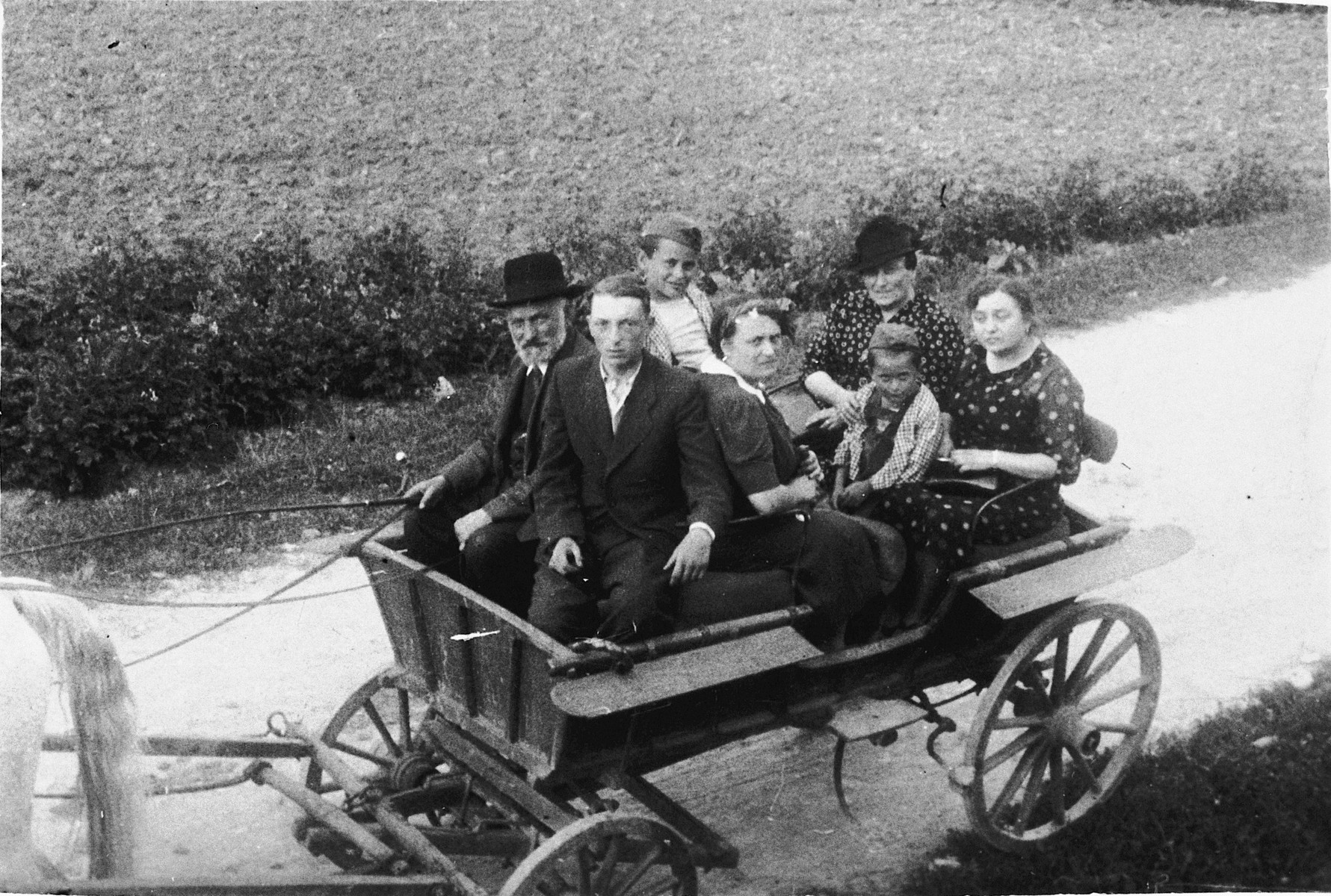 A Jewish family goes for a ride in a horse-drawn wagon.  Among those pictured are: Josef Jam (driver), Chaim Dov Jam (next to the driver), Maurice Friedberg (behind the driver), Ida (Jam) Friedberg (center), Simon Friedberg (child next to Ida), Memel Jam (behind Simon wearing a hat).