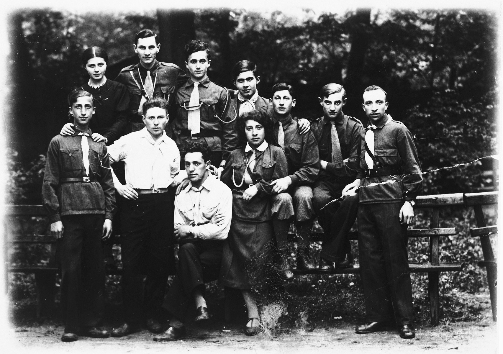 Group portrait of members of the Hashomer Hatzair Zionist youth movement in Kalisz, Poland.