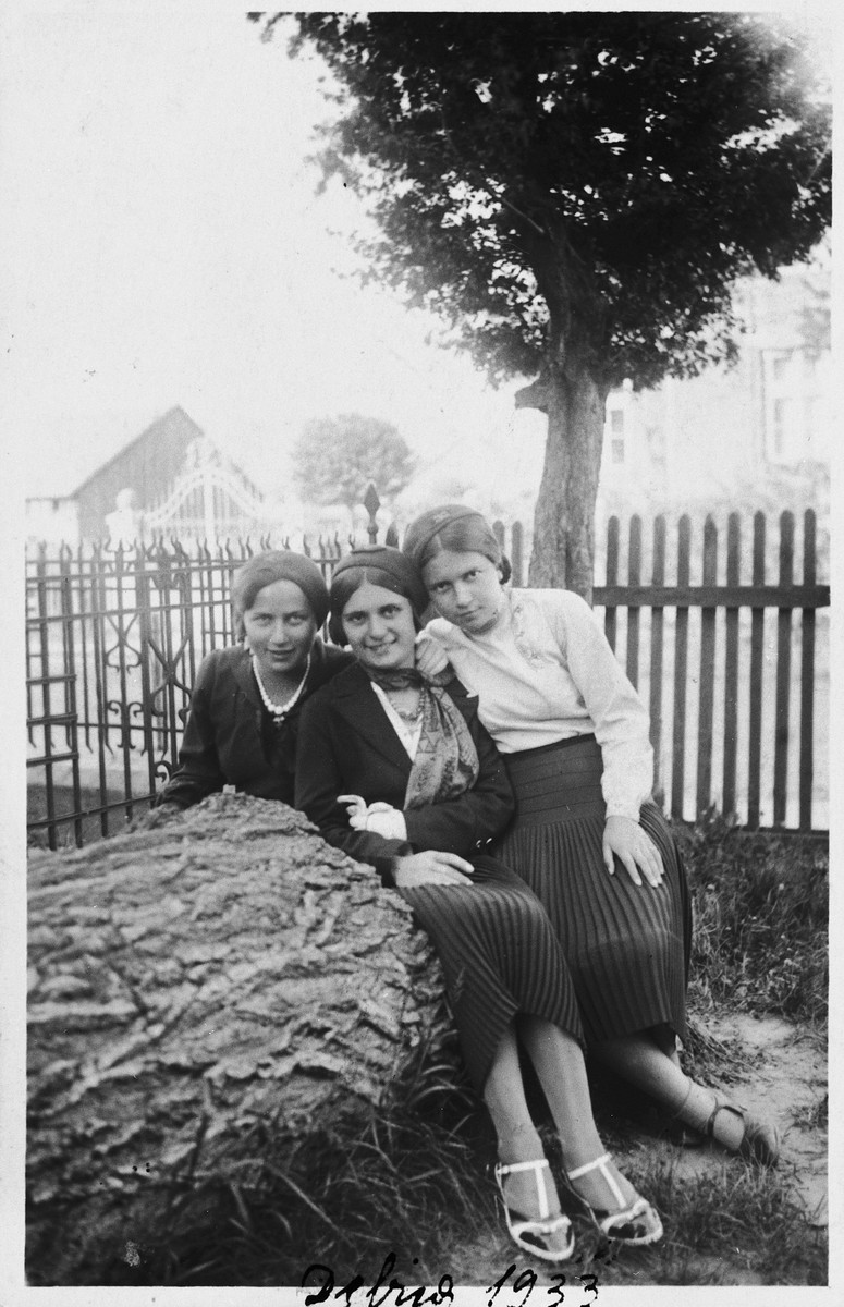 Three young women pose outside in a yard in Debica, Poland.  Pictured from left to right are: Frieda Fisz, an unidentified Polish schoolmate, and Sara Hollander.
