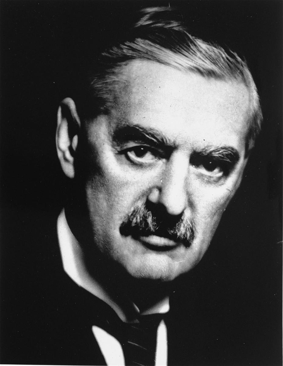 Portrait of  British Prime Minister Neville Chamberlain.