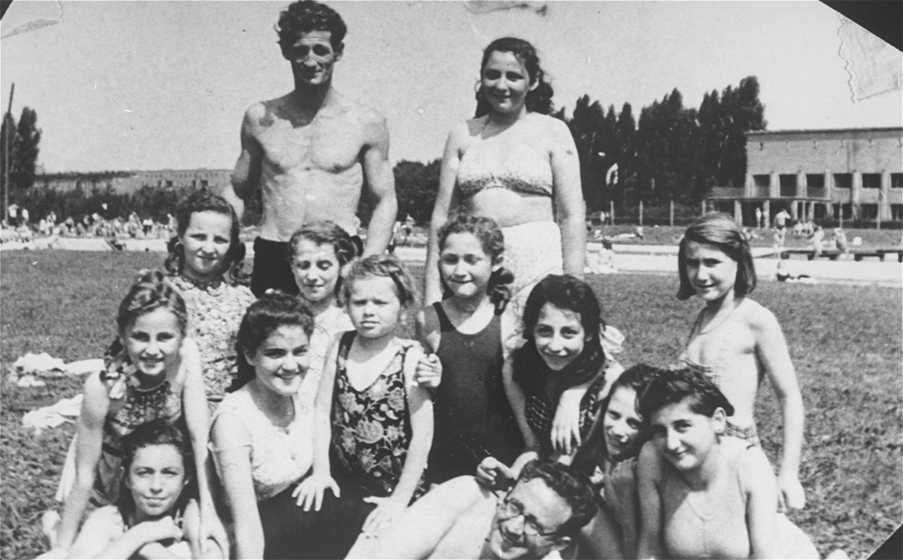 Children from the Krakow Jewish orphanage.  Eve Nisencwajg is pictured in the second row on the far left.