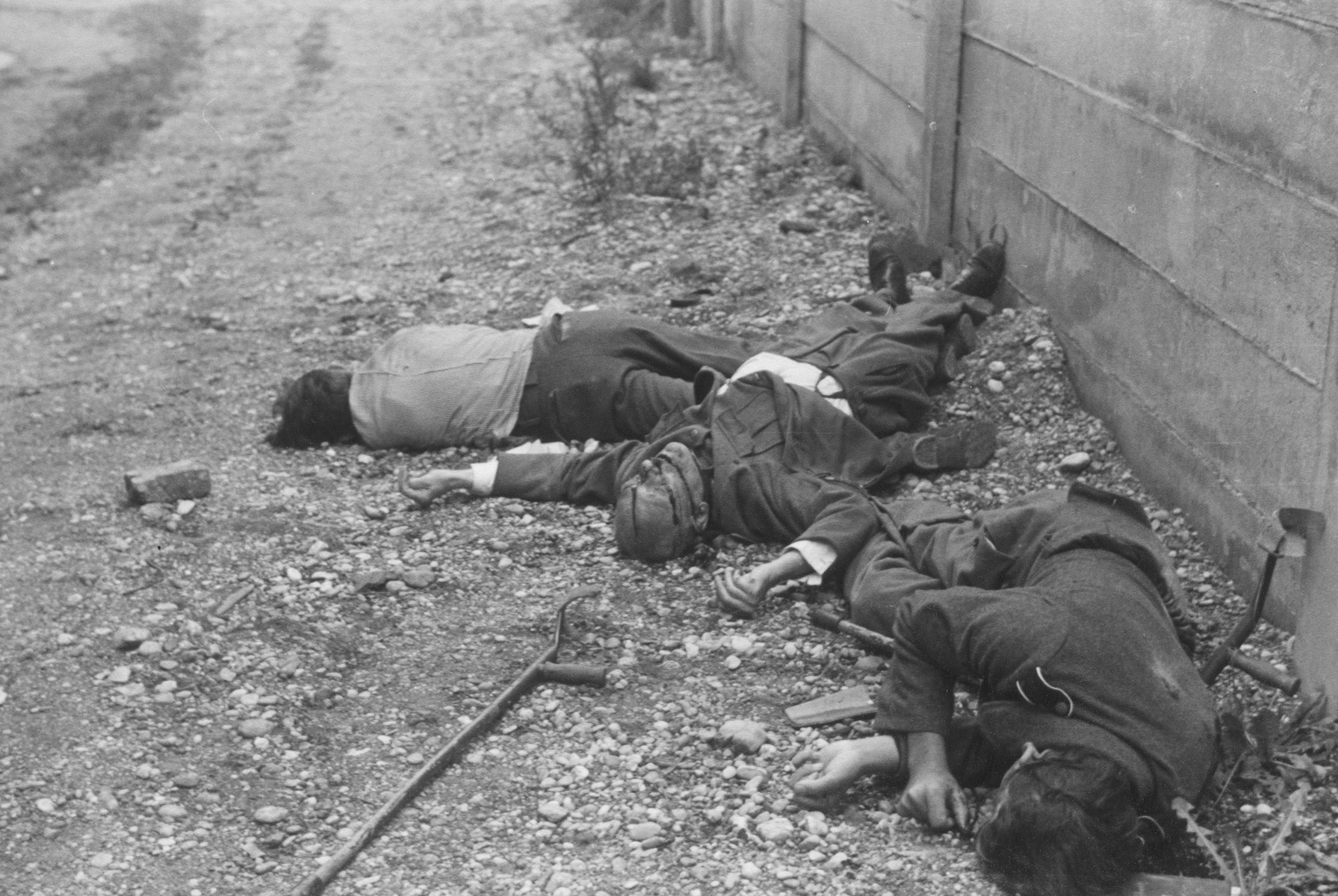 Slain camp guards, killed in revenge killings, lie next to a wall in the Dachau concentration camp.