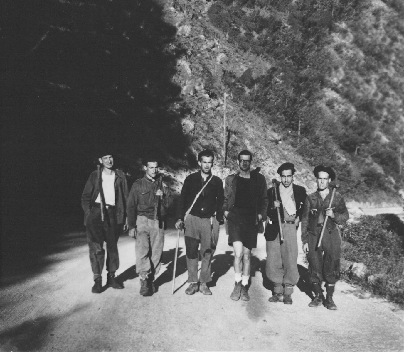Rescuers and French vineyard workers at the foot of the Pyrenees, near the French-Spanish border.  Pictured is Daniel Benedite (third from right).