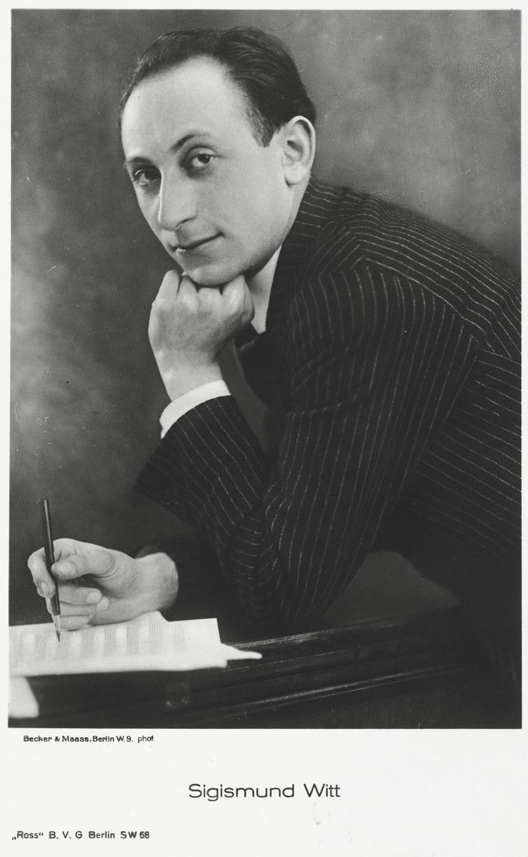 Publicity photograph of jazz musician and composer, Sigismund Witt.  Sigismund Witt was the older brother of Georg Witting.  He was born on February 28, 1898 in Hohensalza, Posen.  He was imprisoned by the Nazis in the Gurs internment camp in southern France but managed to be evacuated to the United States in 1942.  He never regained his health following the imprisonment and died at the age of 48 on August 10, 1946.