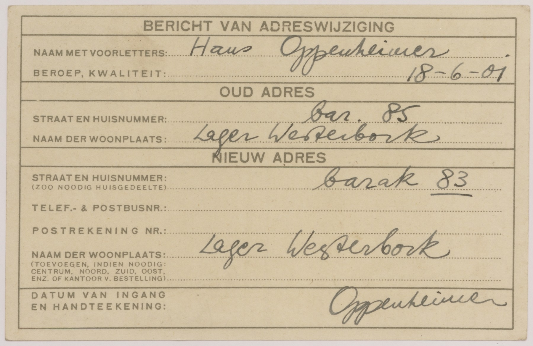 Postcard sent from Hans Oppenheimer to notify a change in barracks in the Westerbork transit camp.