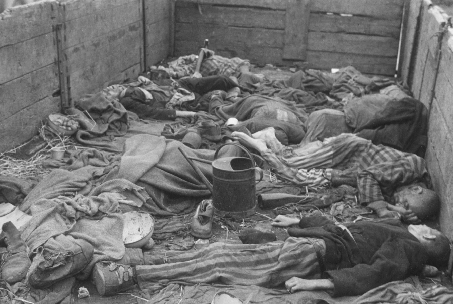 Corpses in a death train in Dachau.