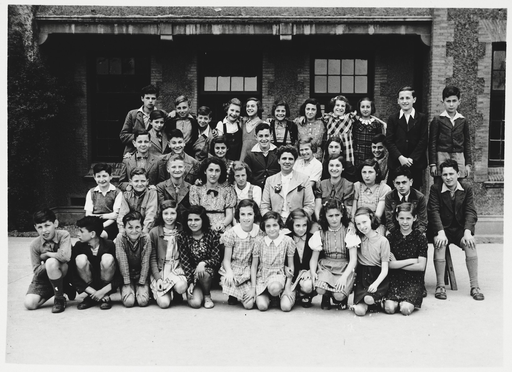 Group portrait of German-Jewish refugee children at their school in Shanghai.