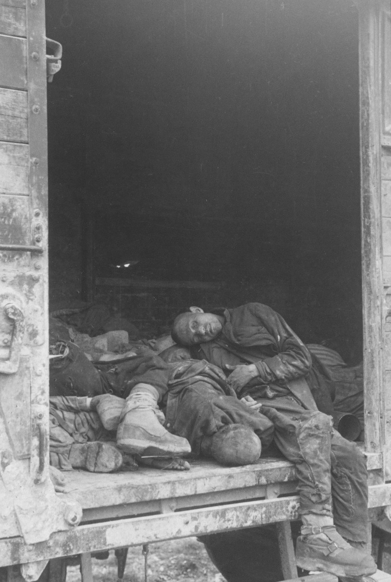 Corpses in a death train in Dachau.