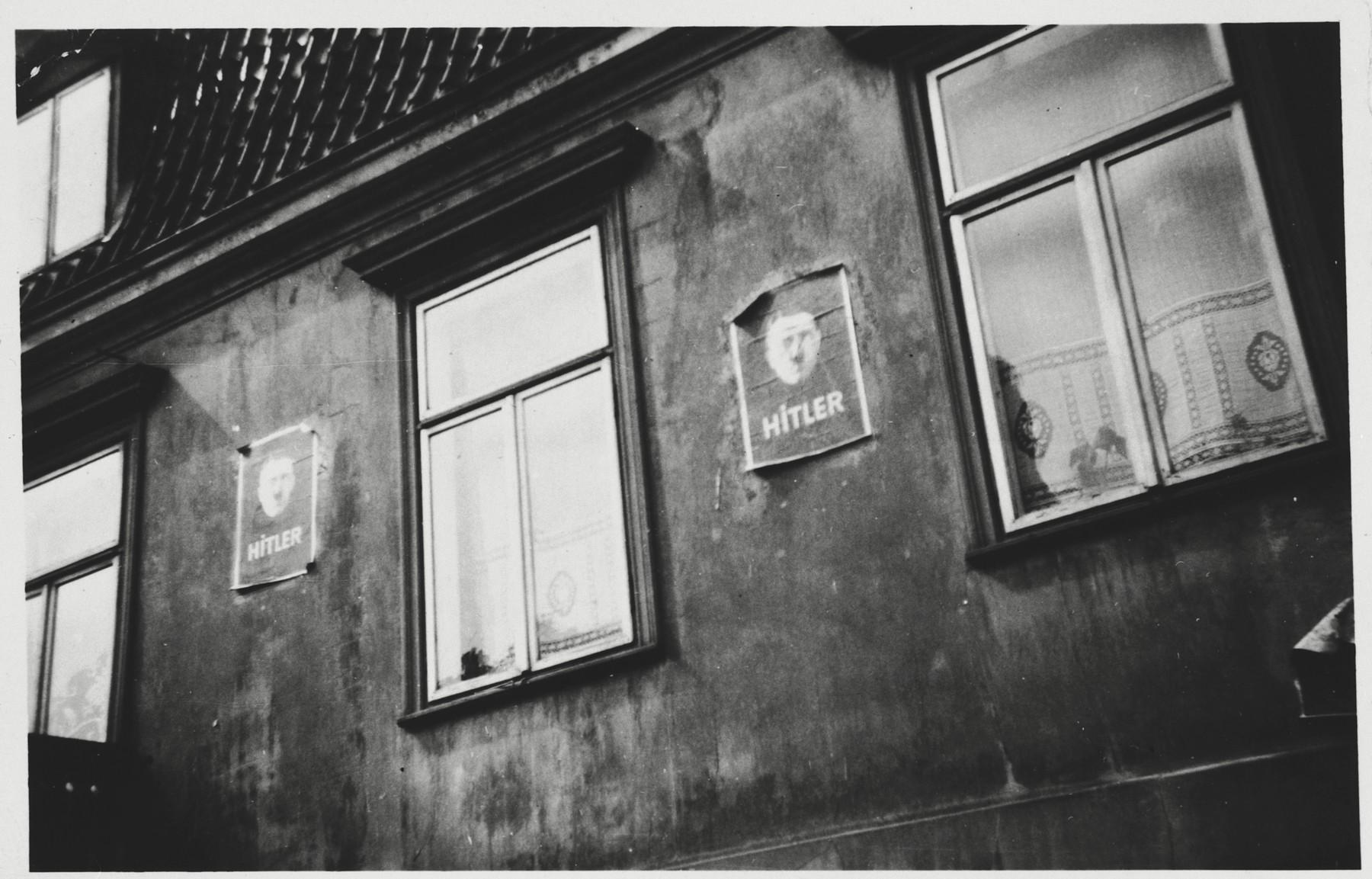 Posters of Adolf Hitler bedeck a building in Kiel.