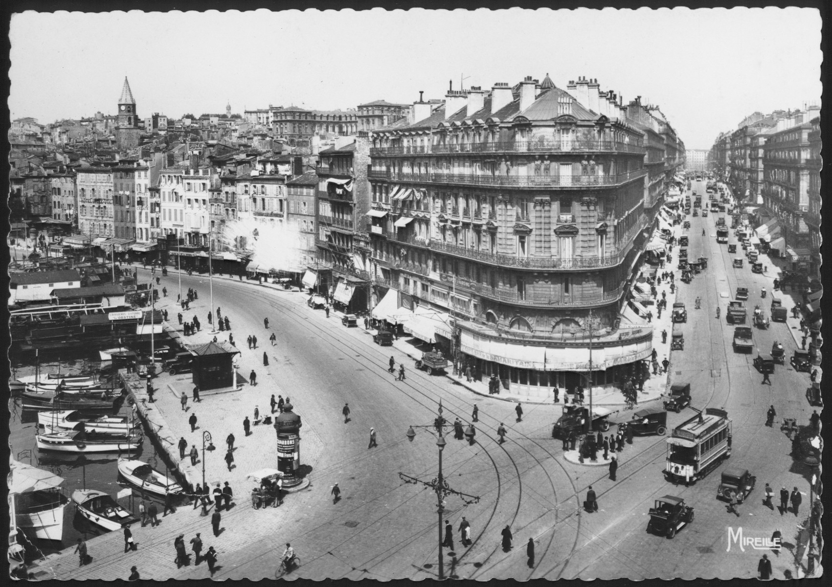 Postcard showing a view of a major intersection in Marseilles, France.