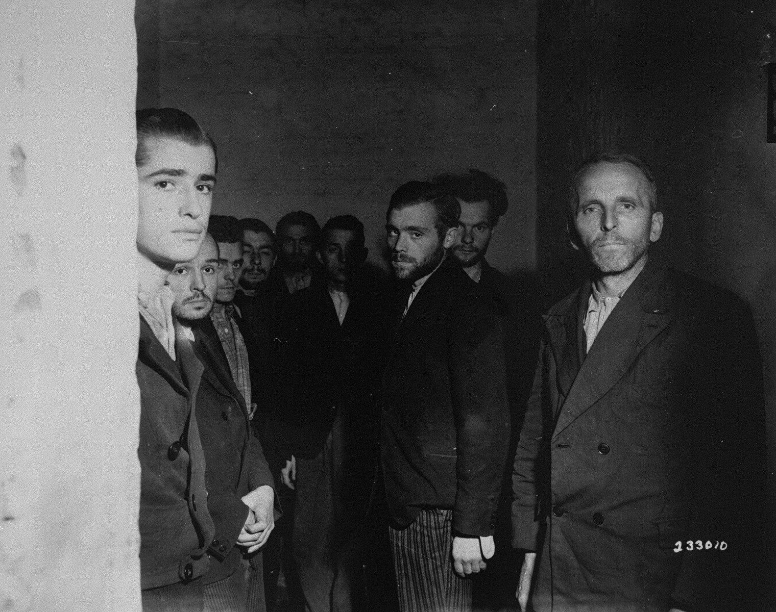 German Gestapo agents arrested after the fall of Liege, incarcerated in a cell in the city's citadel.