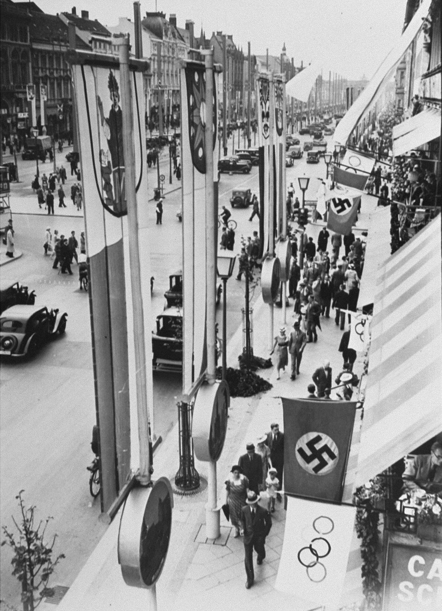 The streets of Berlin decorated with Olympic and Nazi flags during the Olympic games.