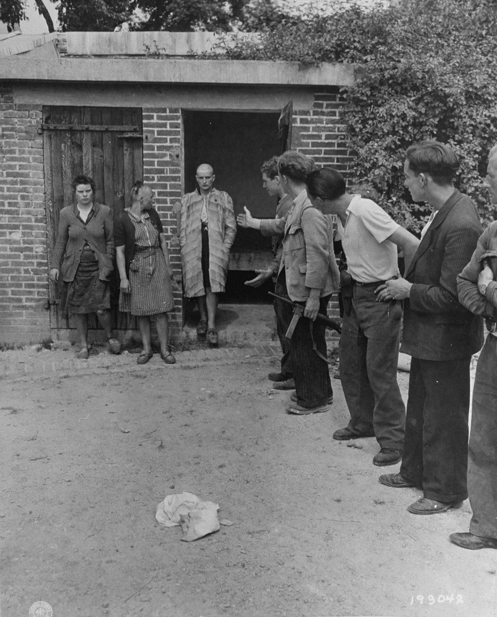 Three women who consorted with the Germans during the occupation are released after being publicly humiliated by the French resistance.  The women's heads were shaven as part of their punishment.