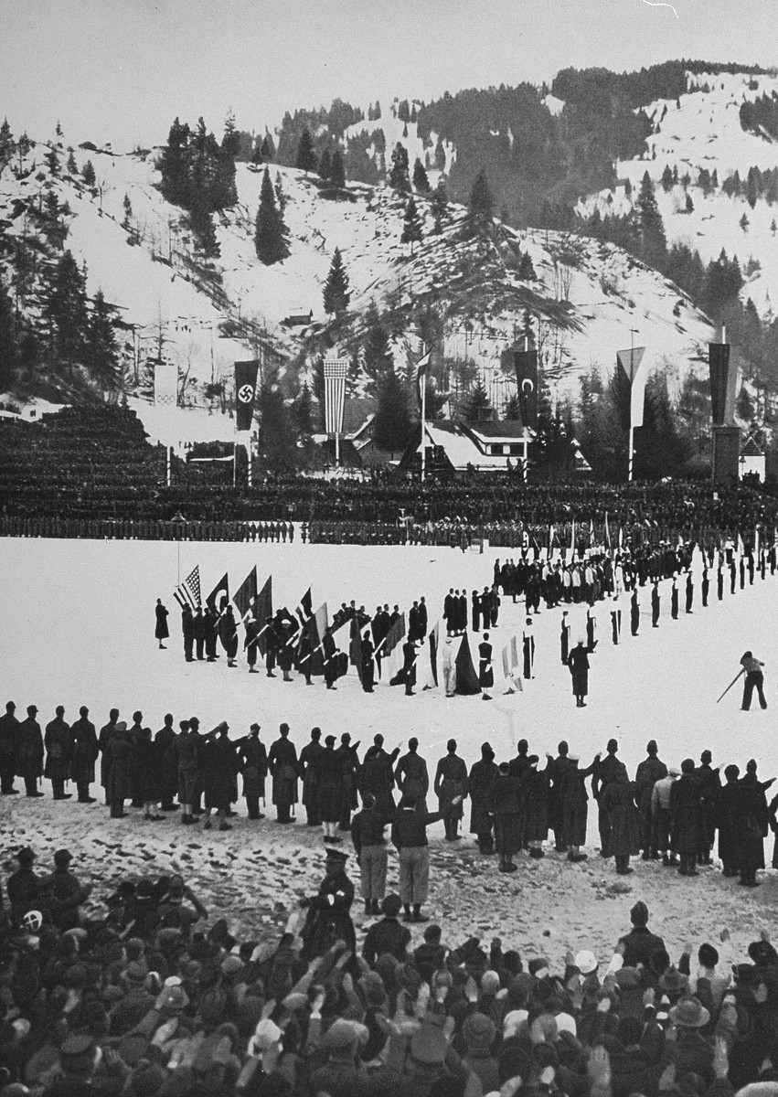 Closing ceremonies at the 4th Winter Olympics.
