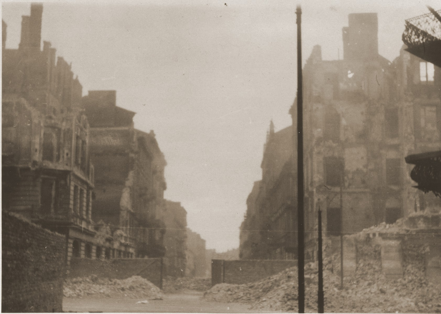 Ruins in the Warsaw ghetto after its destruction by the SS.