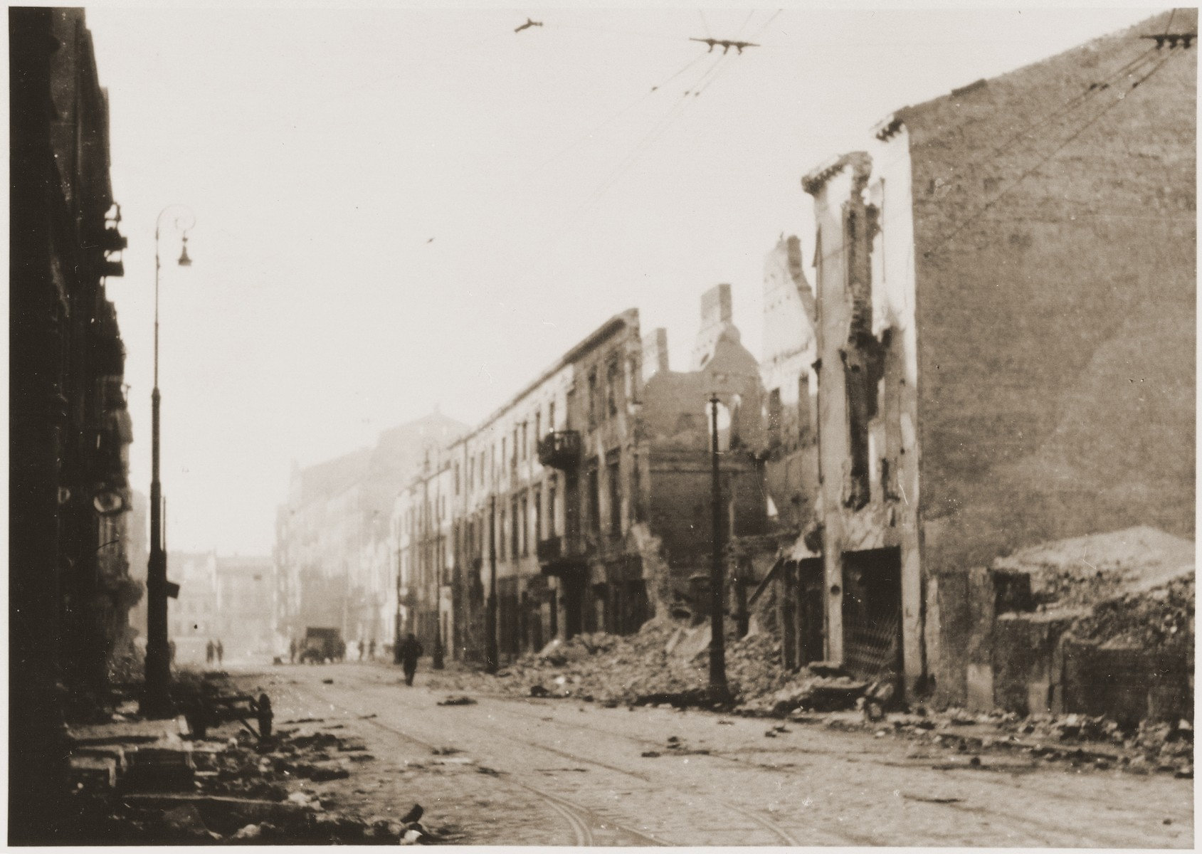 The ruins of buildings destroyed by the SS during the suppression of the Warsaw ghetto uprising.