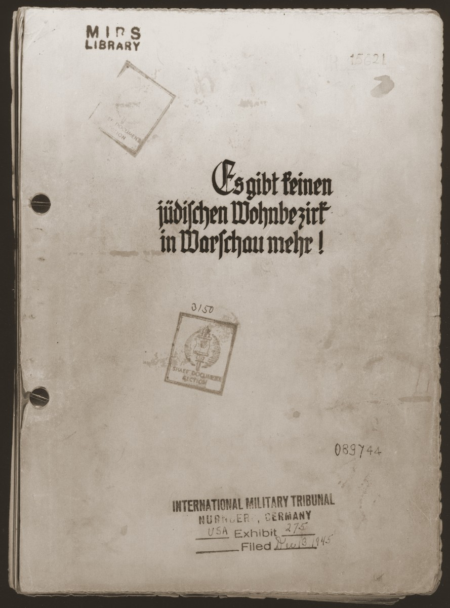 "The cover page of a copy of the Stroop Report, entitled ""The Jewish Quarter of Warsaw is no more!"""