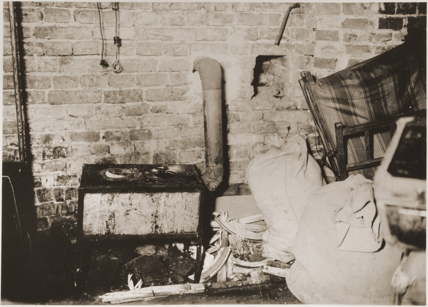 Cooking facilities in a bunker prepared by the Jewish resistance for the Warsaw ghetto uprising.