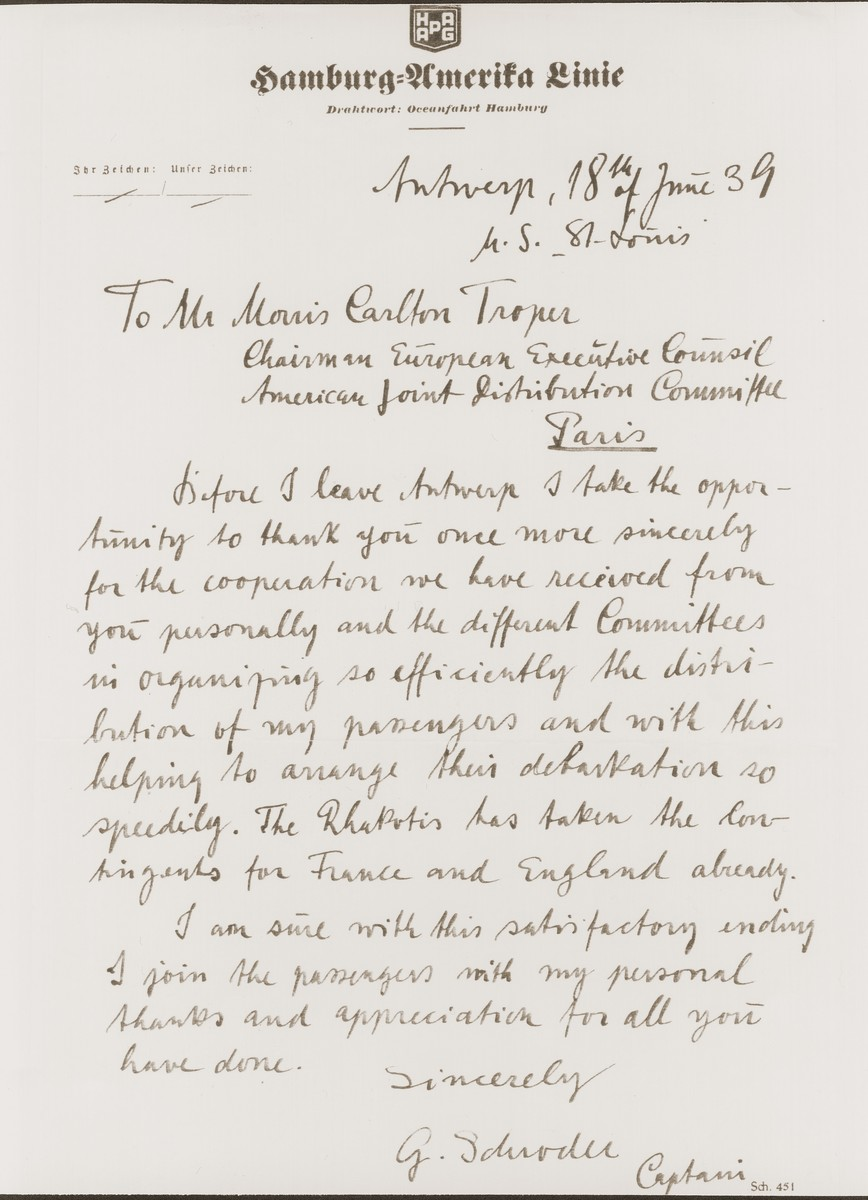 Thank you note to Morris Troper from the Captain of the St. Louis for his help in finding countries that would accept the passengers of the St. Louis.