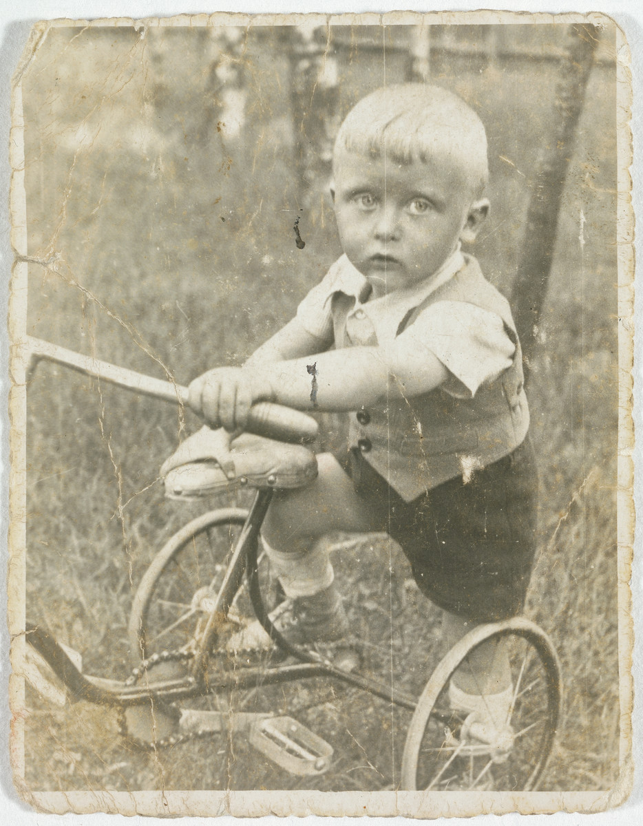 Portrait of a young Jewish boy on a tricycle in Lodz Poland.  Pictured is Henius Koplowicz.  Three years later he was murdered in the Chelmno killing center.