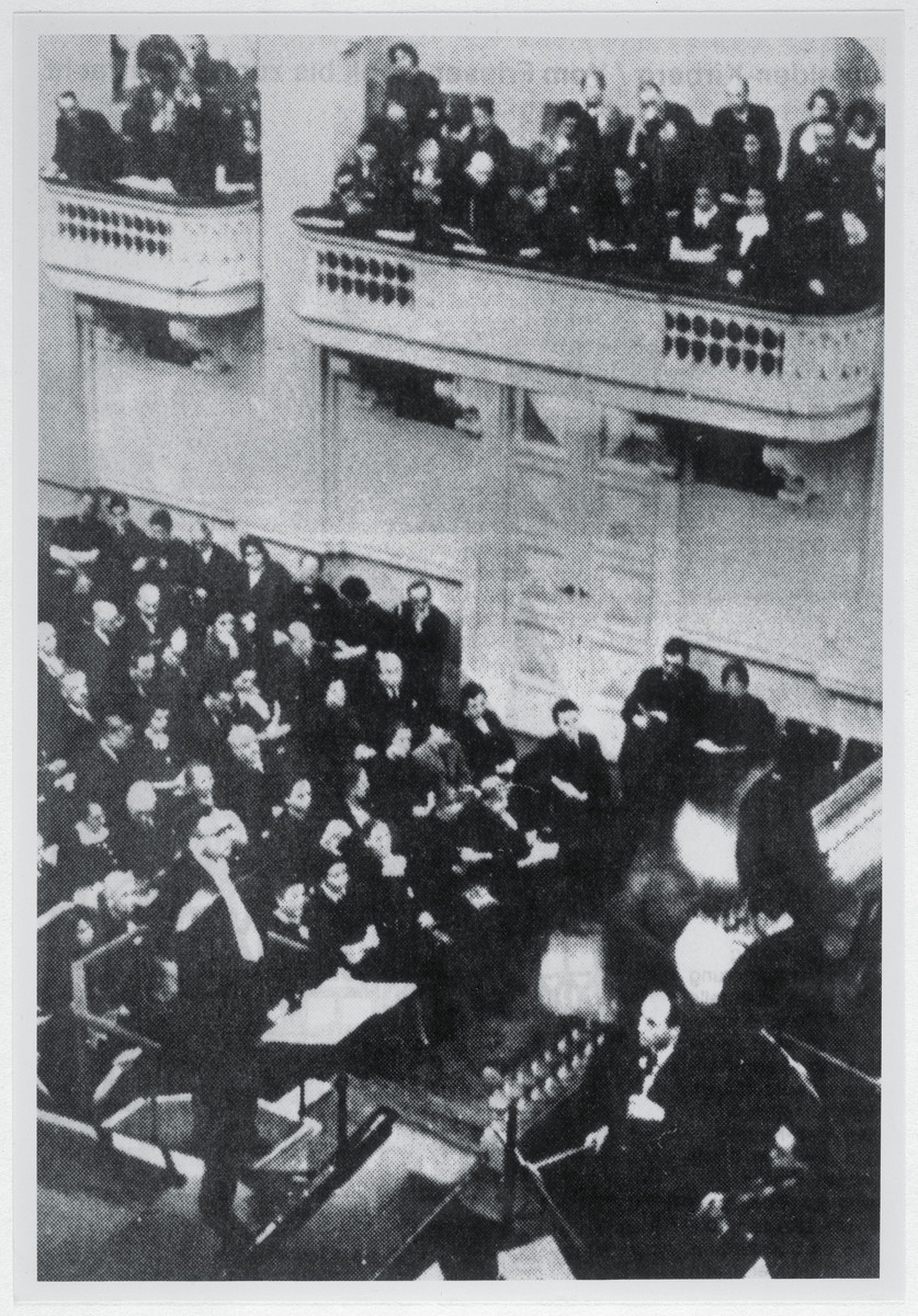 An orchestra created under the auspices of the Jewish Cultural Society performs.   The Jewish Cultural Society provided the only creative outlet for many artists, musicians, and actors who had been dismissed from their jobs. In June 1933, Dr. Nathan Ehrenreich  set up the Jewish Chamber Choir in Frankfurt am Main, which performed a wide repertoire of secular and religious music.