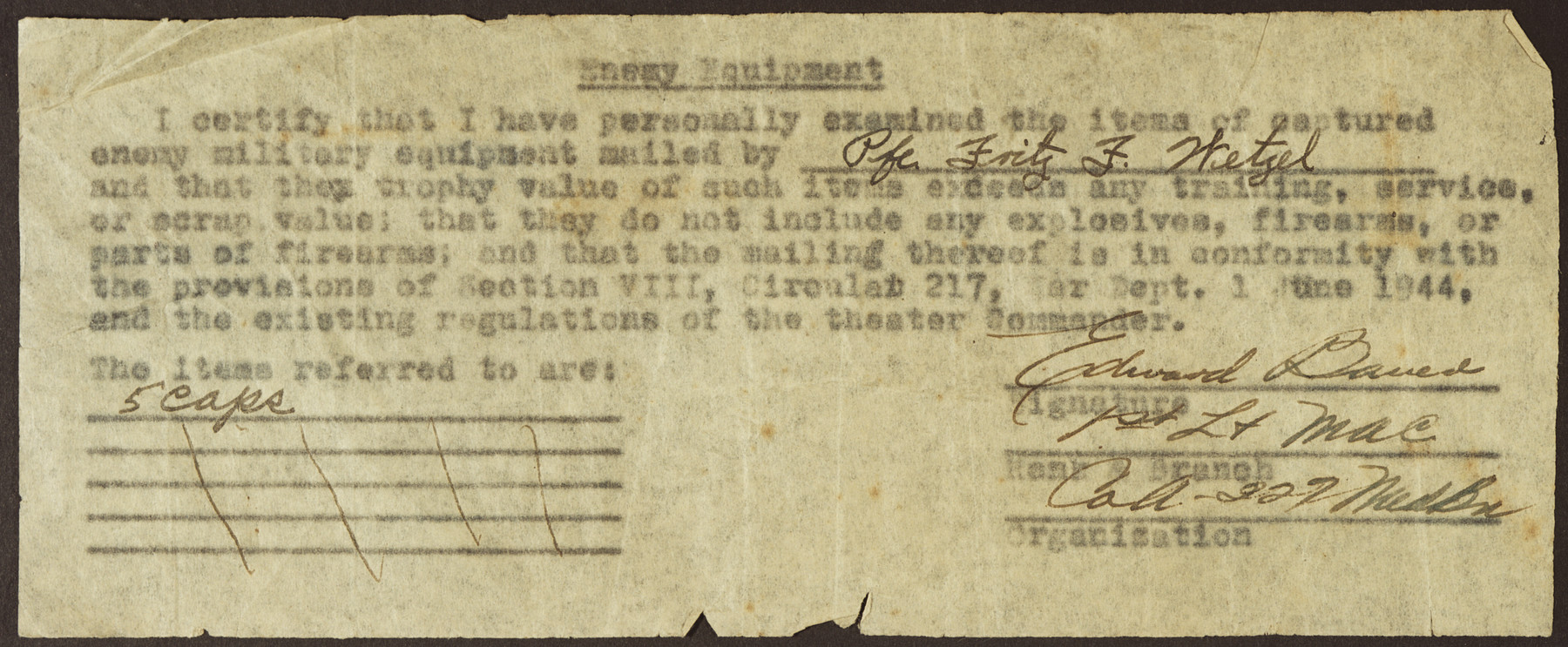 Document certifying that the material being shipped home by Pfc Fritz Wetzel conforms with the provisions of Circular 217 about captured enemy equipment.