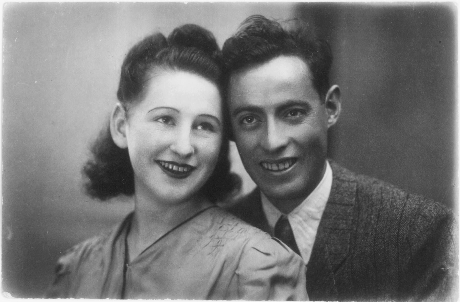 Studio portrait of a Jewish couple in postwar Warsaw.  Pictured are Rywa Gordon and her husband Izak Wertman.