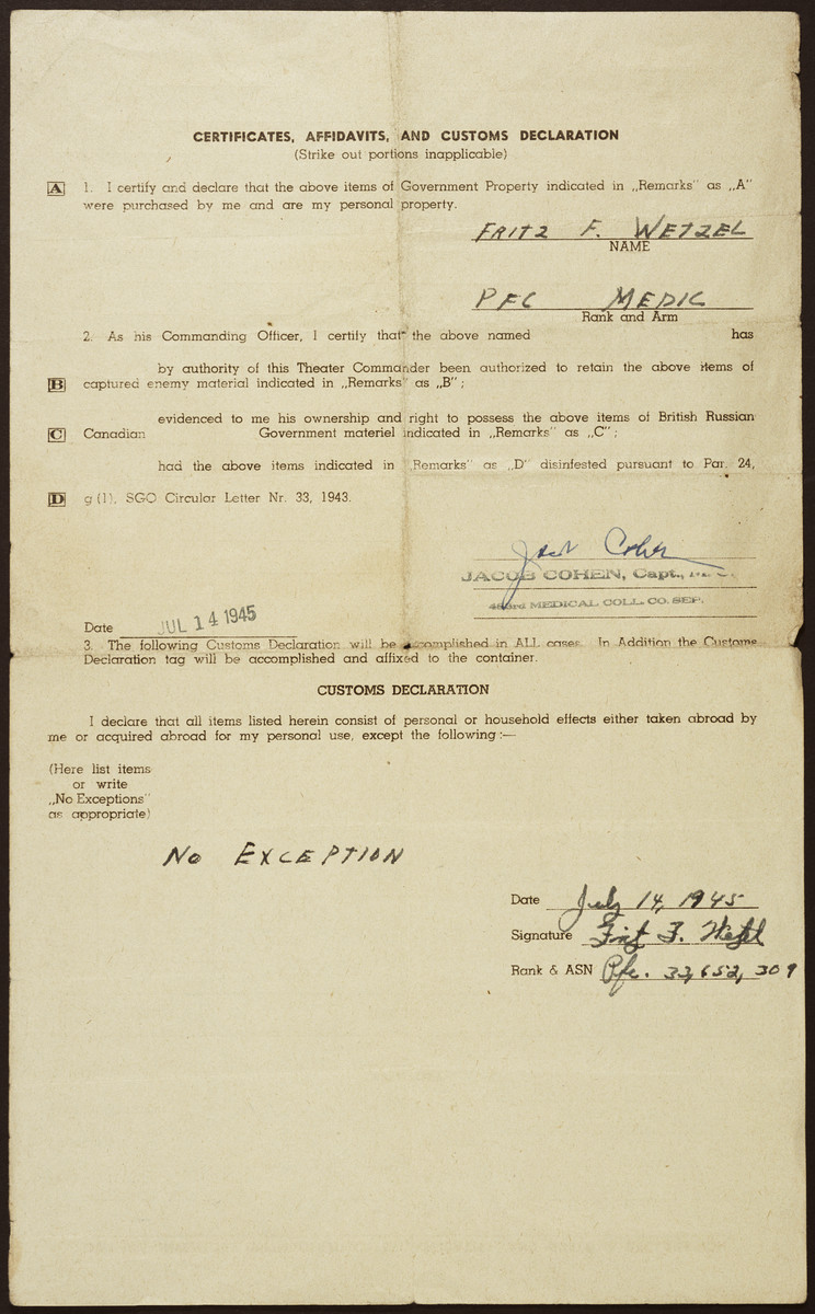 Verso of  the inventory of captured enemy equipment being shipped home by Pfc Fritz Wetzel certifying that his possession of the items was approved by his commanding officer.