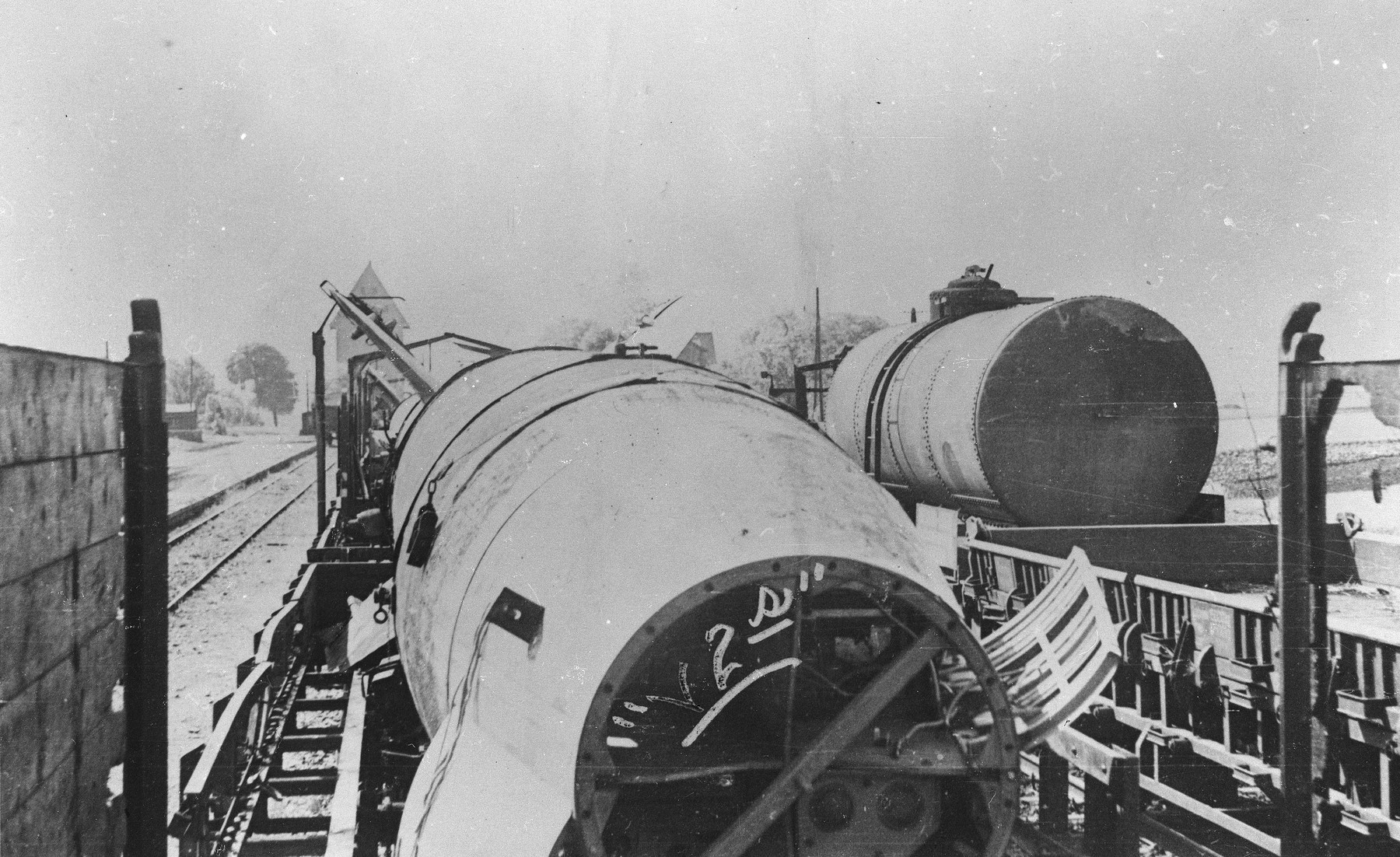 View of the V-2 missile manufactured with the use of slave labor at Dora-Mittelbau.
