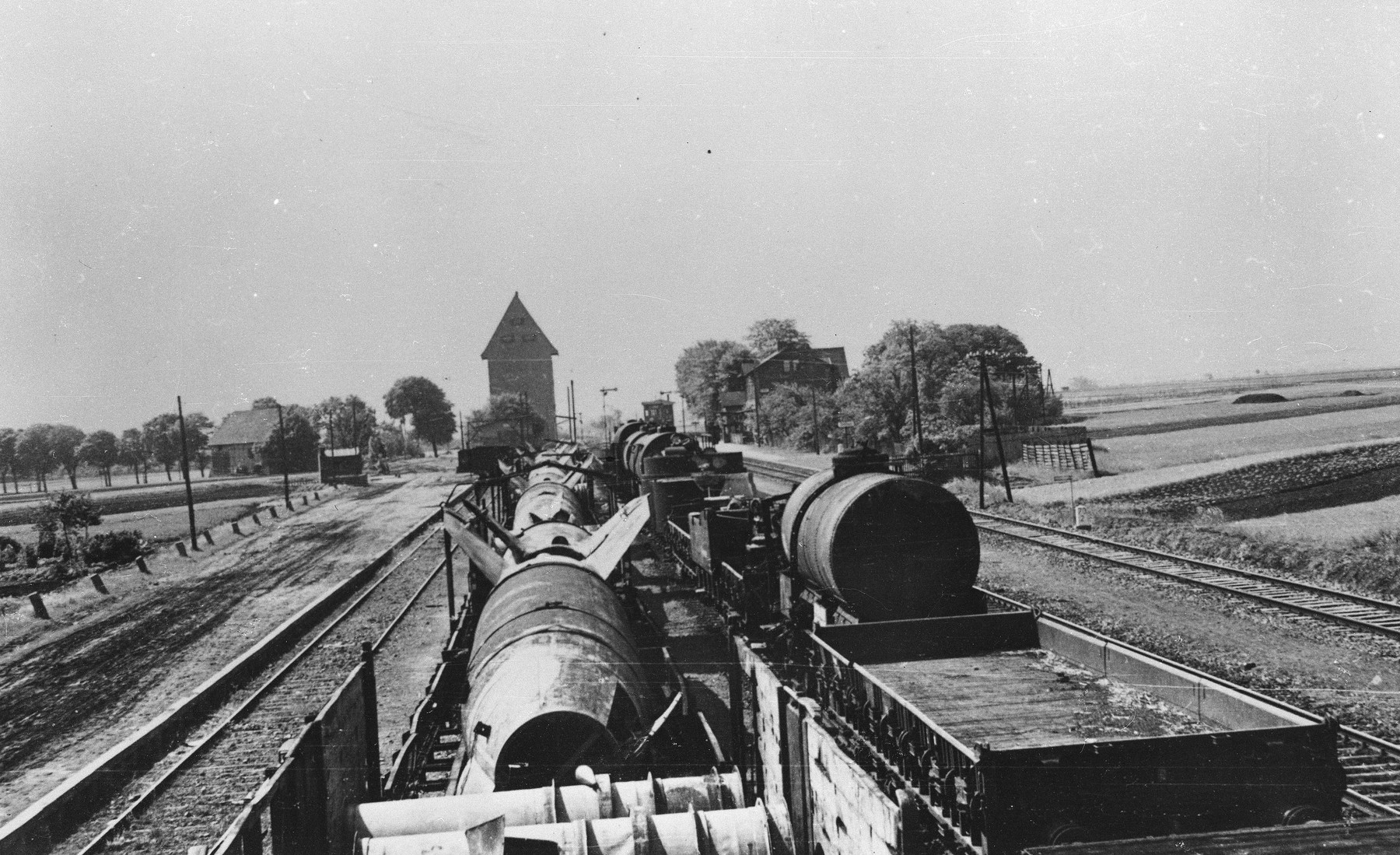 View of a V-2 missile manufactured with the use of slave labor at Dora-Mittelbau.