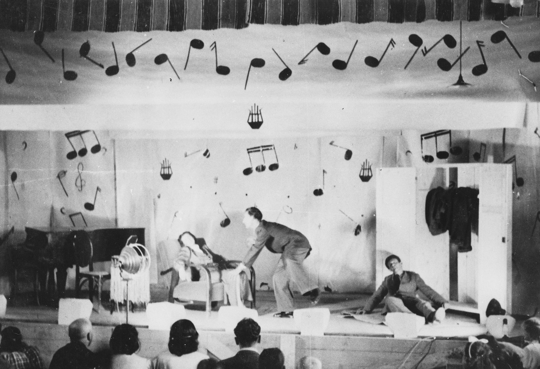 Prisoners put on a theatrical performance at a Slovak labor camp.