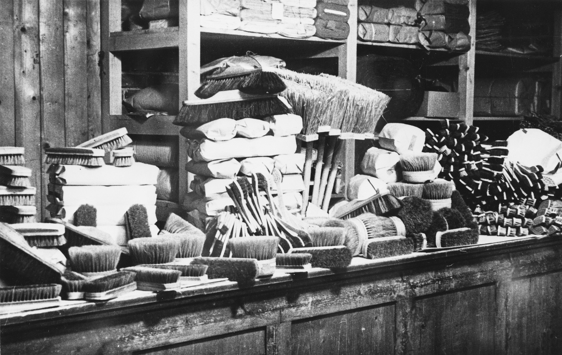 Brushes and brooms made by prisoners in a Slovak labor camp.