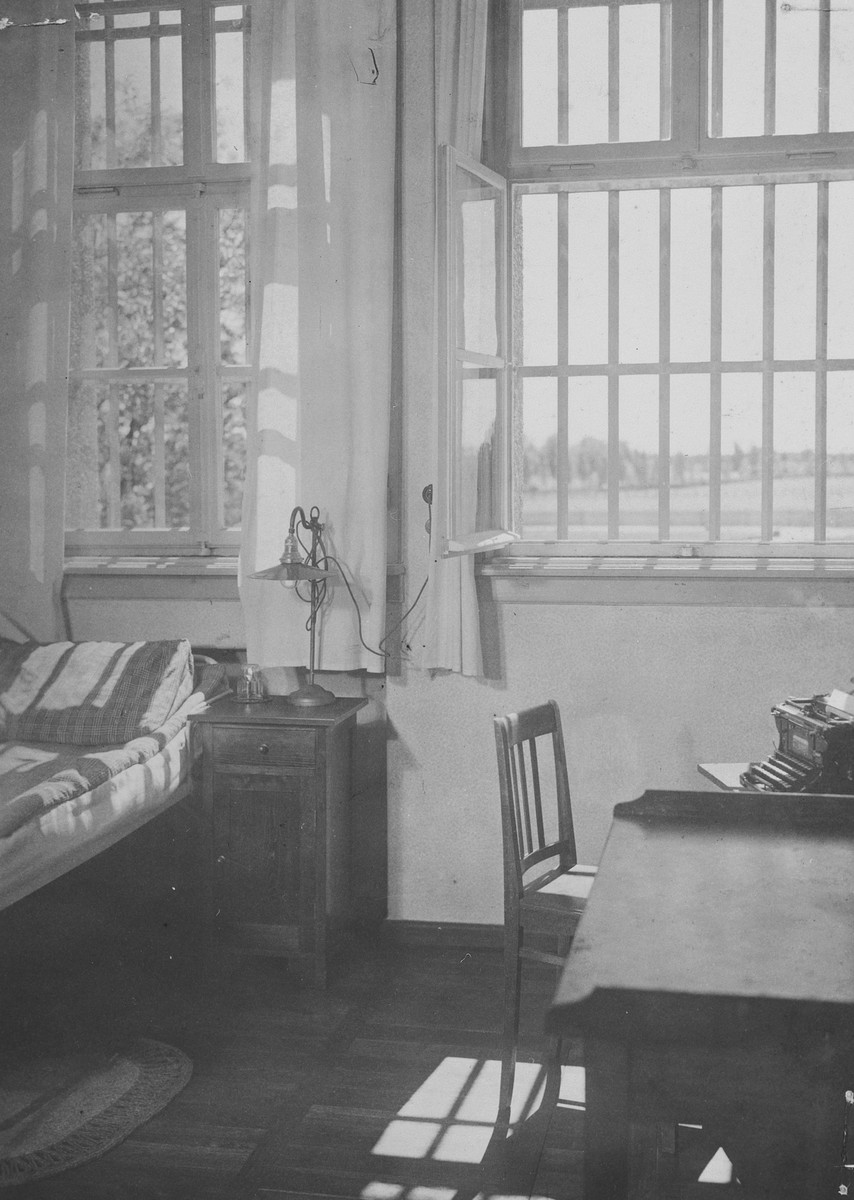 Interior view of the cell occupied by Adolf Hitler following the abortive Beer Hall Putsch.