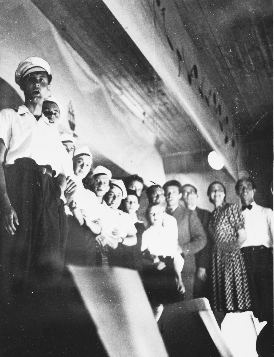 Prisoners sing in a performance at a Slovak labor camp.