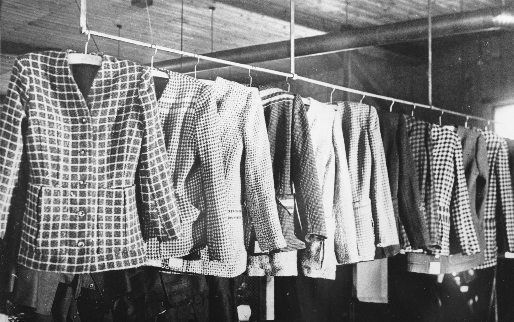 Women's suits made by prisoners at a Slovak labor camp.